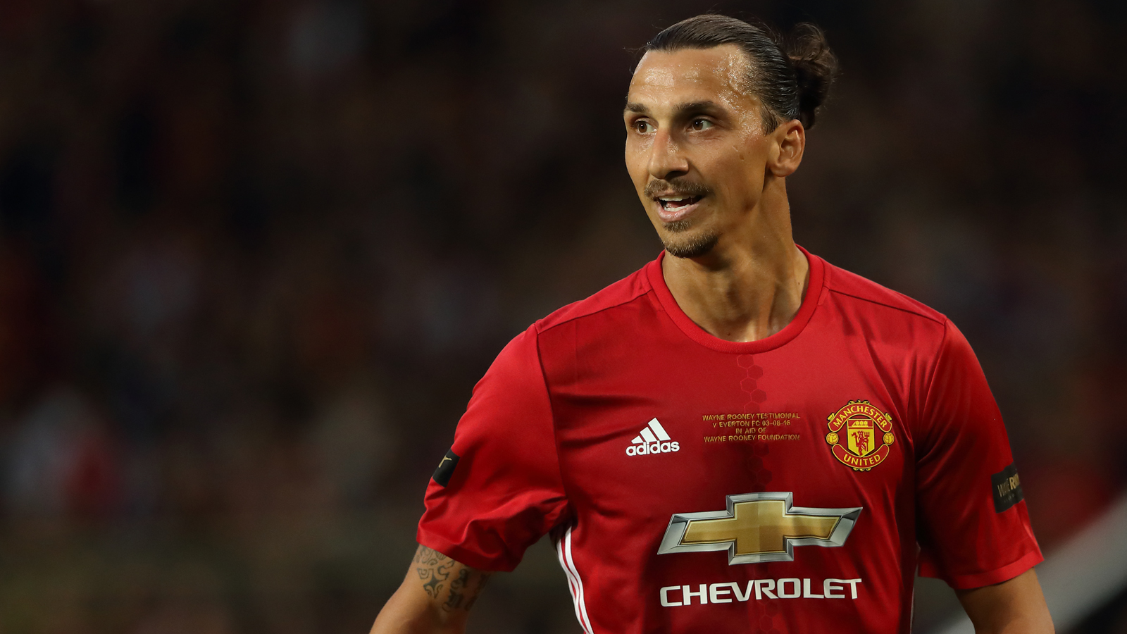 MANCHESTER, ENGLAND - AUGUST 03: Zlatan Ibrahimovic of Manchester United during the Wayne Rooney Testimonial match between Manchester United and Everton at Old Trafford on August 3, 2016 in Manchester, England. (Photo by Matthew Ashton - AMA/Getty Images)