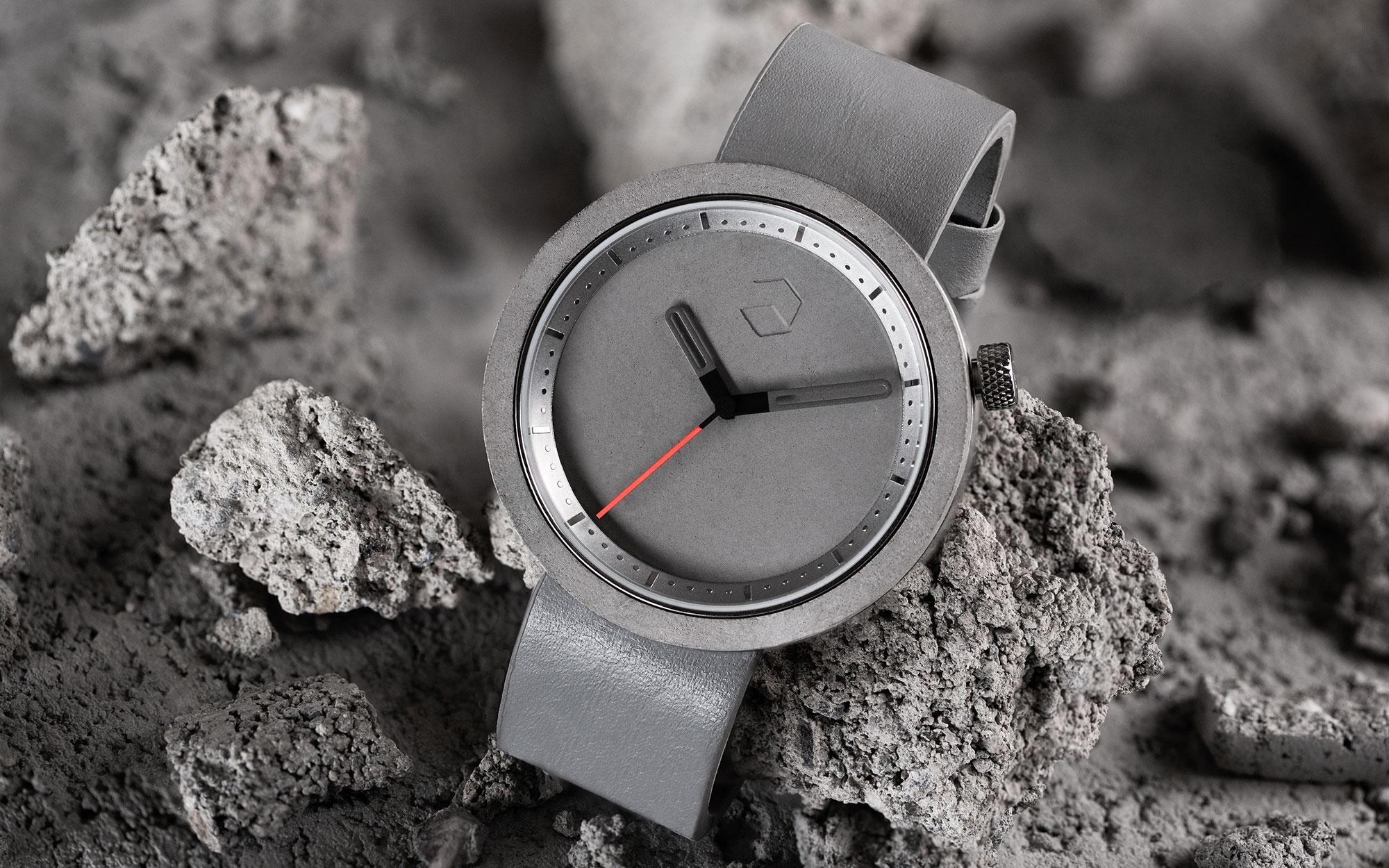relógio feito de cimento