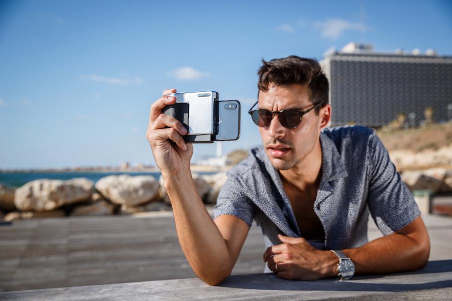 acessório que se transforma o iphone numa câmara DSLR