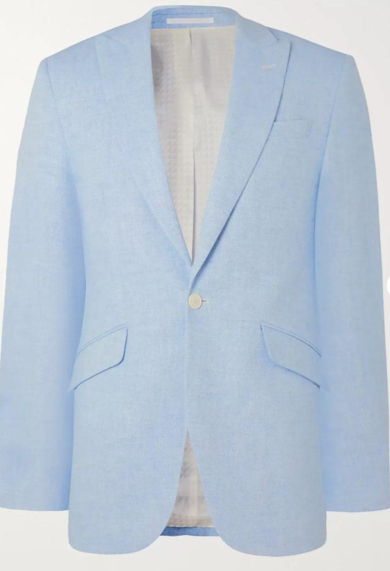 blazer linho azul get the look