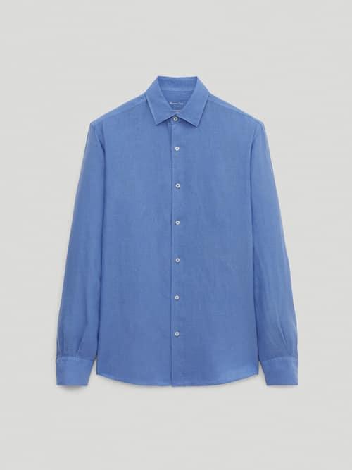 Camisa de linho azul Massimo Dutti