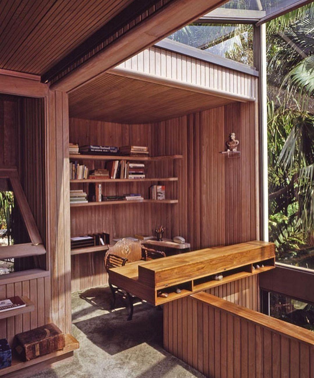 Pormenor do escritório da casa woodsong